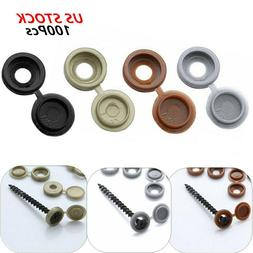 100 Plastic Flip Top Screw Cover Caps_Fold Over Snap Washer