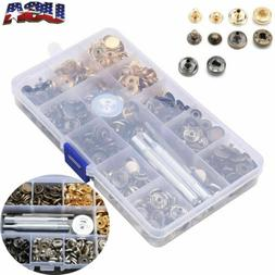 100 Sets Metal Snap Fasteners Kit Snap Buttons Press Studs &