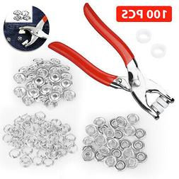 100 X Prong Pliers Ring Press Studs Snap Popper Fasteners 9.