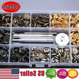 100Pcs/Set Poppers Snap Fasteners Press Stud Sewing For Leat