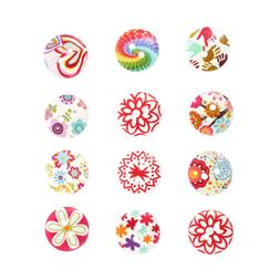 200pcs Wooden Sewing Buttons Painted Flower Fasteners for DI