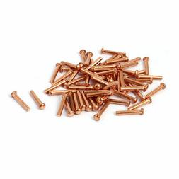 2mm x 12mm Round Head Copper Solid Rivets Fasteners Gold Ton