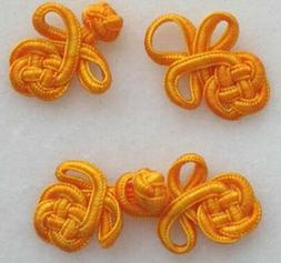 6 pairs small doll orange braided frog button knot closures