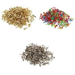 600x Small Round Head Metal Paper Fasteners Brads for Art Cr