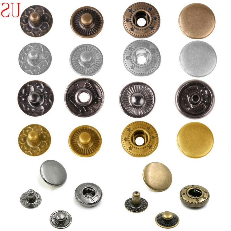 200 sets snap fasteners kit metal buttons