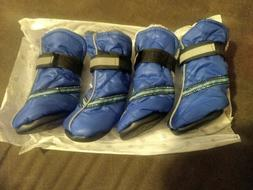 Small blue dog boots with velcro fasteners